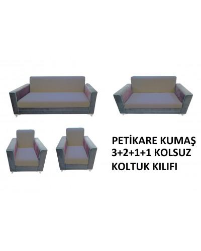 Petikare Kolsuz Koltuk Kılıfı Takımı Gri ( 3+...