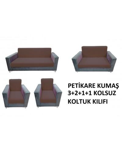 Petikare Kolsuz Koltuk Kılıfı Takımı Kahverengi ( 3+2+1+1)