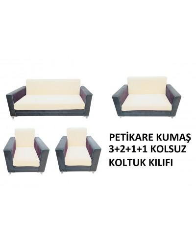 Petikare Kolsuz Koltuk Kılıfı Takımı Krem ( 3...