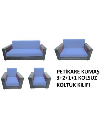 Petikare Kolsuz Koltuk Kılıfı Takımı Mavi ( 3...