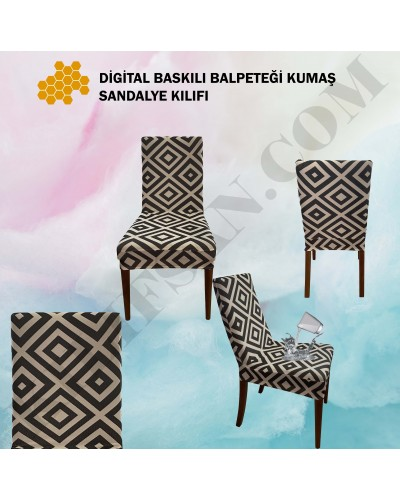 DS-06 Digital Baskı Bal Peteği Streç Kumaş Sandalye Kılıfı