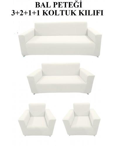 Bal Peteği Koltuk Kılıfı Takımı Beyaz ( 3+2+...