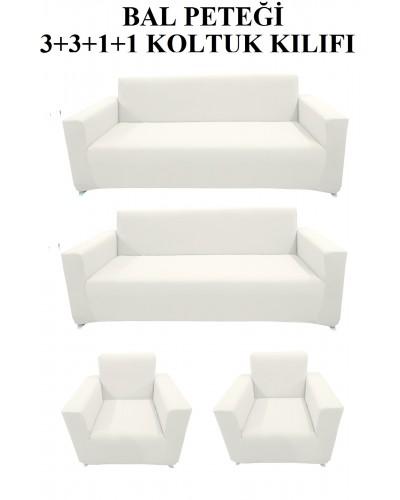 Bal Peteği Koltuk Kılıfı Takımı Beyaz ( 3+3+...