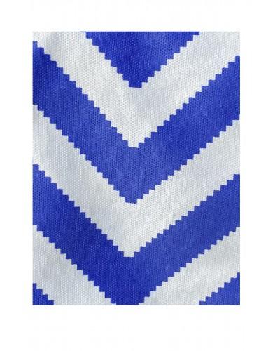 Kılıfsan Balkon Perdesi Mavi Beyaz Zikzak Model