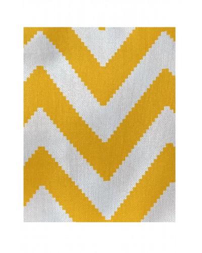 Kılıfsan Balkon Perdesi Sarı Beyaz Zikzak Model