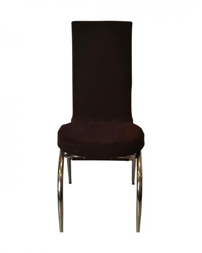 Kadife Kelebek Model Kahverengi Sandalye Kılıfı