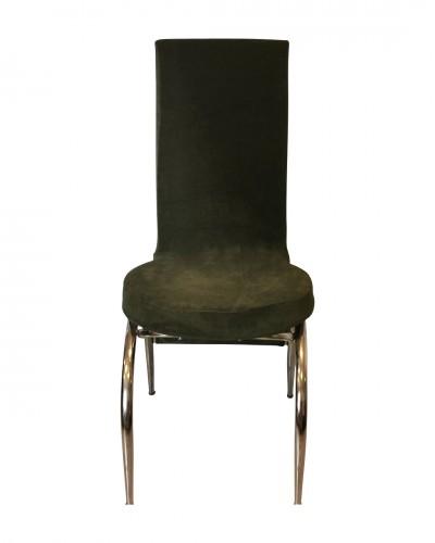 Kadife Kelebek Model Haki Sandalye Kılıfı