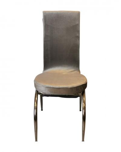 Kadife Kelebek Model Gri Sandalye Kılıfı