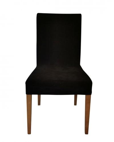 Kadife Siyah Sandalye Kılıfı