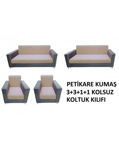 Petikare Kolsuz Koltuk Kılıfı Takımı Bej ( 3+...